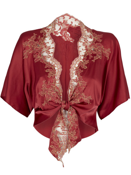 Lace and Silk Bed Jacket